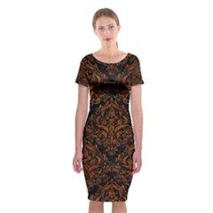 Damask1 Black Marble & Brown Marble Classic Short Sleeve Midi Dress