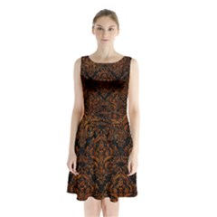 Damask1 Black Marble & Brown Marble Sleeveless Waist Tie Chiffon Dress