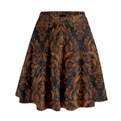 Damask1 Black Marble & Brown Marble High Waist Skirt