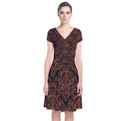 Damask1 Black Marble & Brown Marble Short Sleeve Front Wrap Dress