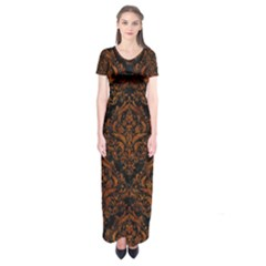 Damask1 Black Marble & Brown Marble Short Sleeve Maxi Dress