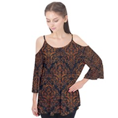 Damask1 Black Marble & Brown Marble Flutter Sleeve Tee