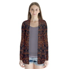 Damask1 Black Marble & Brown Marble Drape Collar Cardigan