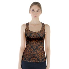 Damask1 Black Marble & Brown Marble Racer Back Sports Top