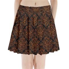 Damask1 Black Marble & Brown Marble Pleated Mini Skirt