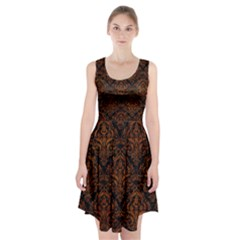 Damask1 Black Marble & Brown Marble Racerback Midi Dress
