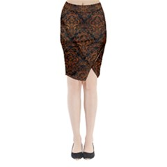 Damask1 Black Marble & Brown Marble Midi Wrap Pencil Skirt