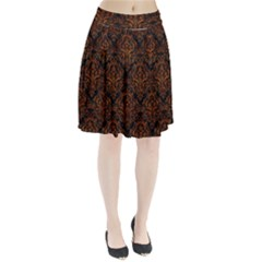 Damask1 Black Marble & Brown Marble Pleated Skirt