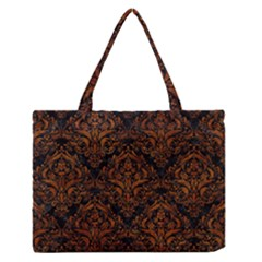 Damask1 Black Marble & Brown Marble Medium Zipper Tote Bag