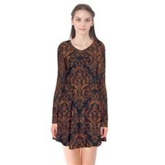Damask1 Black Marble & Brown Marble Long Sleeve V Neck Flare Dress