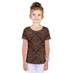 Damask1 Black Marble & Brown Marble Kids  One Piece Tee