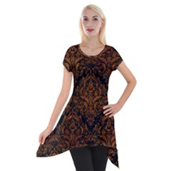 Damask1 Black Marble & Brown Marble Short Sleeve Side Drop Tunic