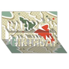Christmas Tree Stars Pattern Happy Birthday 3d Greeting Card (8x4)