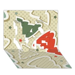 Christmas Tree Stars Pattern Love 3d Greeting Card (7x5)