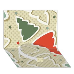 Christmas Tree Stars Pattern Circle Bottom 3d Greeting Card (7x5)