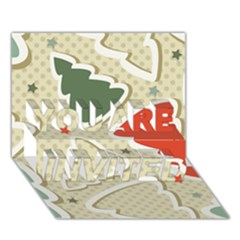 Christmas Tree Stars Pattern YOU ARE INVITED 3D Greeting Card (7x5)