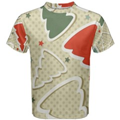 Christmas Tree Stars Pattern Men s Cotton Tee
