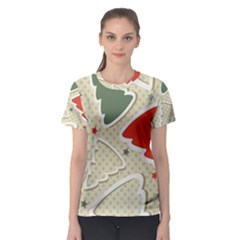 Christmas Tree Stars Pattern Women s Sport Mesh Tee