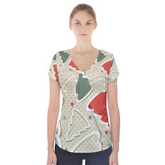 Christmas Tree Stars Pattern Short Sleeve Front Detail Top