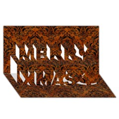 Damask1 Black Marble & Brown Marble (r) Merry Xmas 3d Greeting Card (8x4)