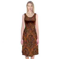 Damask1 Black Marble & Brown Marble (r) Midi Sleeveless Dress