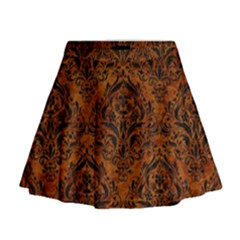 Damask1 Black Marble & Brown Marble (r) Mini Flare Skirt
