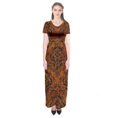 Damask1 Black Marble & Brown Marble (r) Short Sleeve Maxi Dress