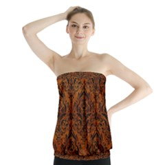 Damask1 Black Marble & Brown Marble (r) Strapless Top