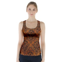 Damask1 Black Marble & Brown Marble (r) Racer Back Sports Top