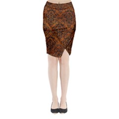Damask1 Black Marble & Brown Marble (r) Midi Wrap Pencil Skirt