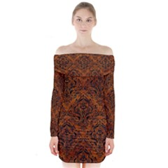 Damask1 Black Marble & Brown Marble (r) Long Sleeve Off Shoulder Dress