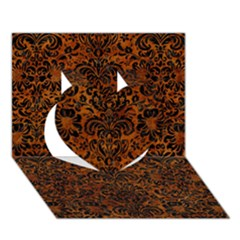 Damask2 Black Marble & Brown Marble (r) Heart 3d Greeting Card (7x5)