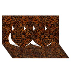 Damask2 Black Marble & Brown Marble (r) Twin Hearts 3d Greeting Card (8x4)