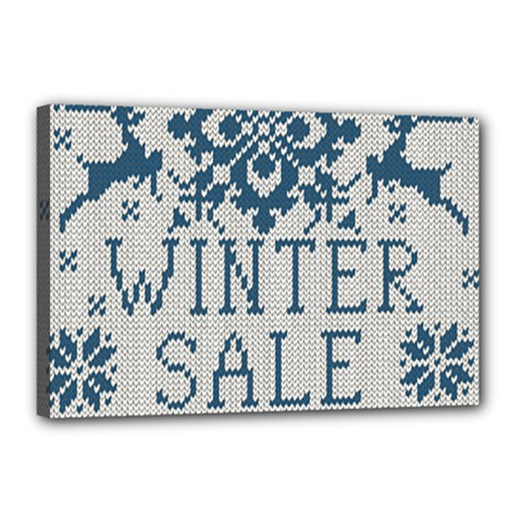 Christmas Elements With Knitted Pattern Vector   Canvas 18  X 12