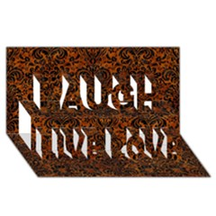Damask2 Black Marble & Brown Marble (r) Laugh Live Love 3d Greeting Card (8x4)
