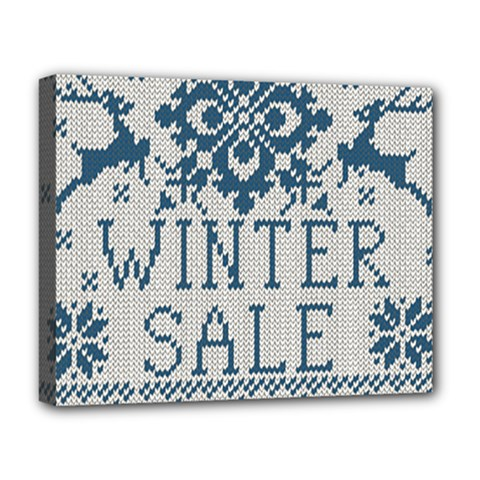 Christmas Elements With Knitted Pattern Vector   Deluxe Canvas 20  X 16