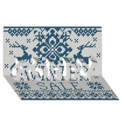 Christmas Elements With Knitted Pattern Vector   Sorry 3d Greeting Card (8x4)