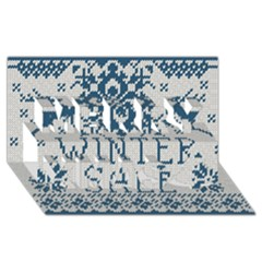 Christmas Elements With Knitted Pattern Vector   Merry Xmas 3d Greeting Card (8x4)