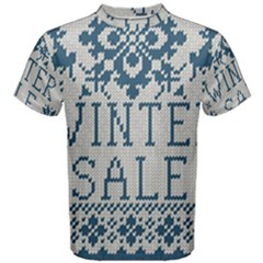 Christmas Elements With Knitted Pattern Vector   Men s Cotton Tee