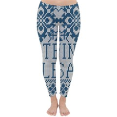 Christmas Elements With Knitted Pattern Vector   Classic Winter Leggings