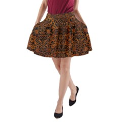 Damask2 Black Marble & Brown Marble (r) A Line Pocket Skirt