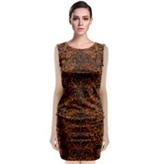 Damask2 Black Marble & Brown Marble (r) Classic Sleeveless Midi Dress