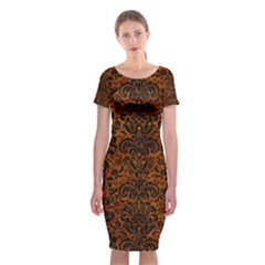 Damask2 Black Marble & Brown Marble (r) Classic Short Sleeve Midi Dress
