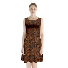 Damask2 Black Marble & Brown Marble (r) Sleeveless Waist Tie Chiffon Dress