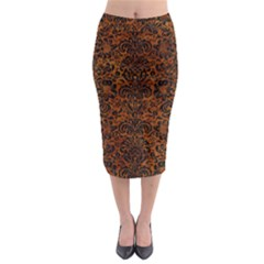 Damask2 Black Marble & Brown Marble (r) Midi Pencil Skirt