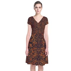 Damask2 Black Marble & Brown Marble (r) Short Sleeve Front Wrap Dress