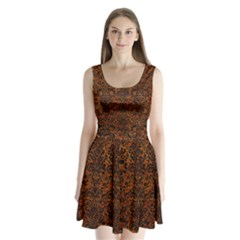 Damask2 Black Marble & Brown Marble (r) Split Back Mini Dress