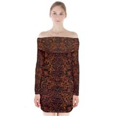 Damask2 Black Marble & Brown Marble (r) Long Sleeve Off Shoulder Dress