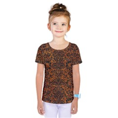 Damask2 Black Marble & Brown Marble (r) Kids  One Piece Tee