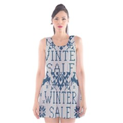 Christmas Elements With Knitted Pattern Vector   Scoop Neck Skater Dress